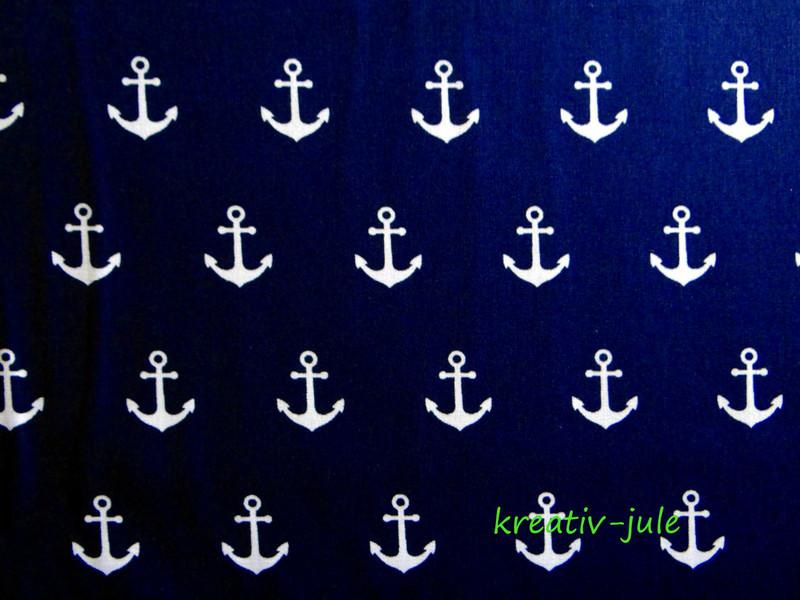 Baumwolle marine dunkelblau Anker weiß groß - 2