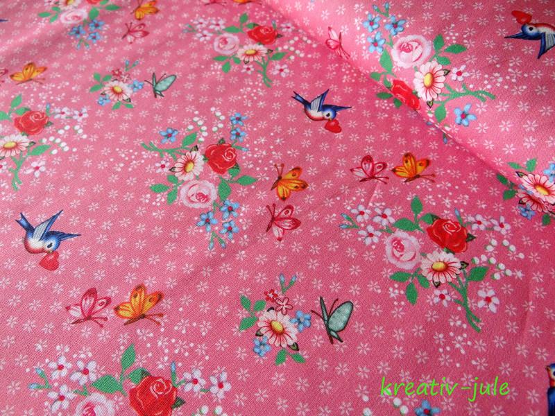 Baumwolle Streublumen Rosen Vögel Herzen