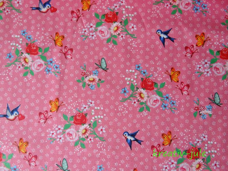 Baumwolle Streublumen Rosen Vögel Herzen 2