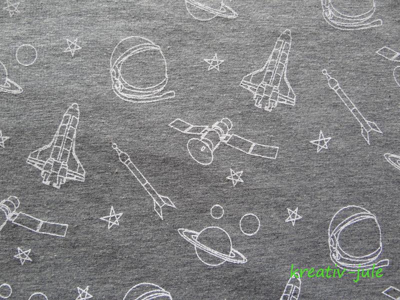 French Terry grau meliert Weltraum Sterne weiss