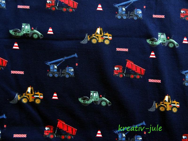 Jersey blau Kran Laster Baufahrzeuge bunt