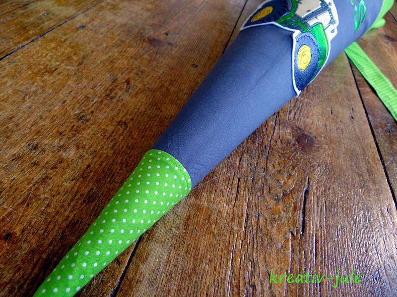 Schultüte Trecker Zuckertüte grau grün Trecker - 4