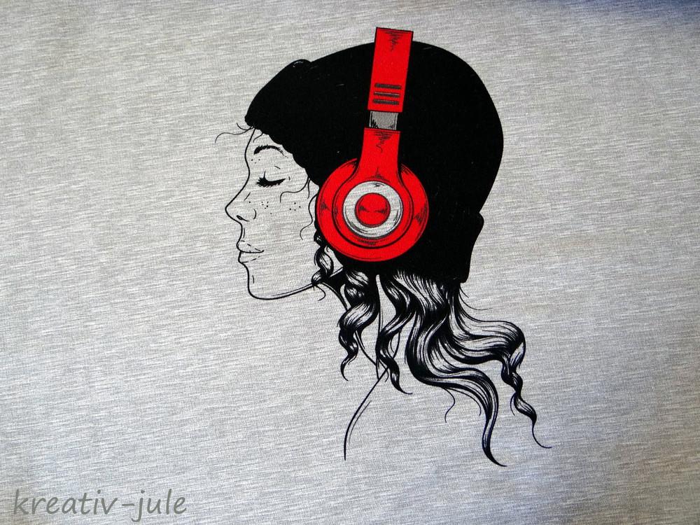 French Terry grau Patty Mädchen mit Kopförer