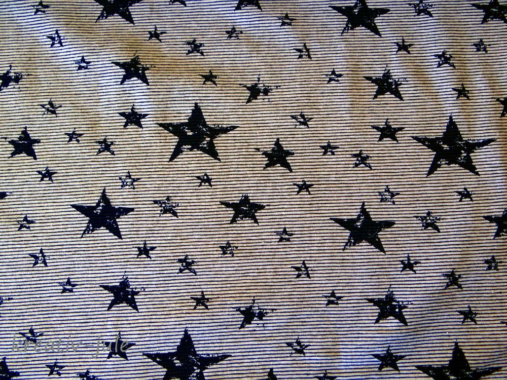 Streifenjersey blau marin weiß Ringeljersey Sterne