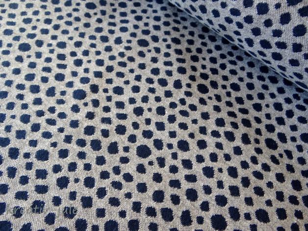 Punkte Jacquard Bündchen Karla grau blau