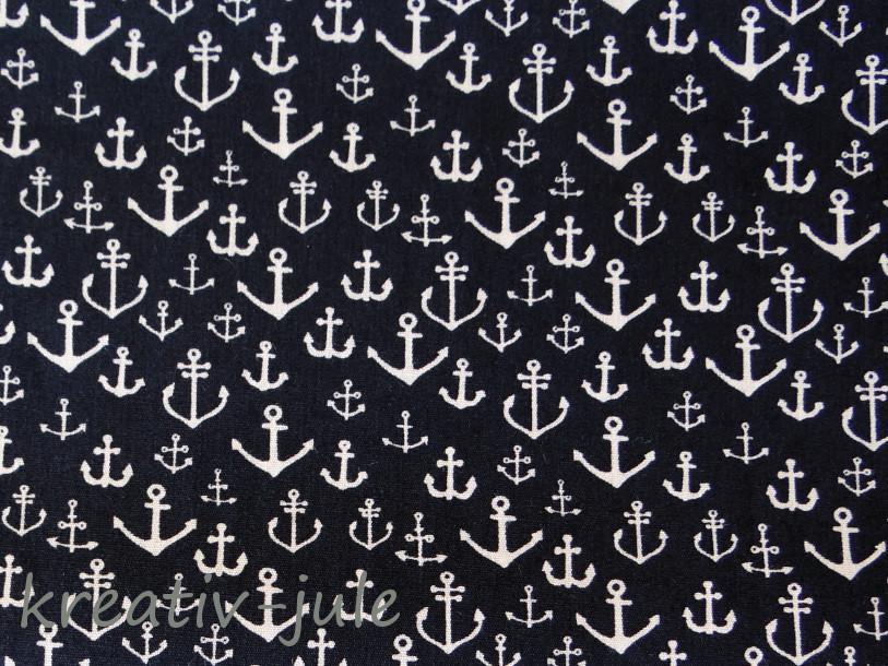 Baumwolle Anker marine blau weiß klein
