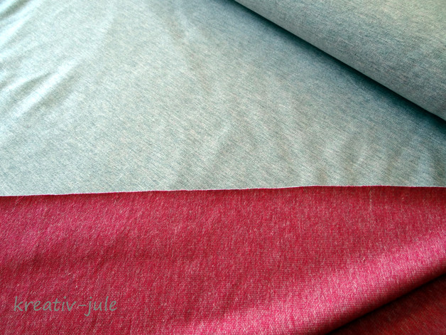 Sommersweat hellgrau rot melange French Terry