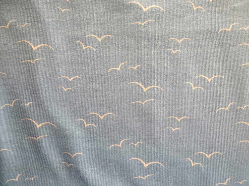 Jersey hellblau Voegel schwalben weiss