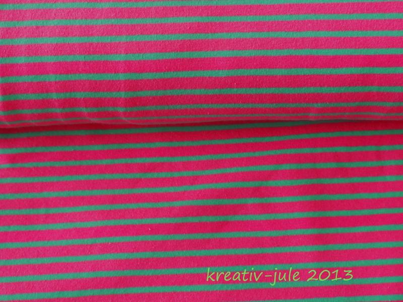 Streifenjersey Kinderstoff rosa gruen