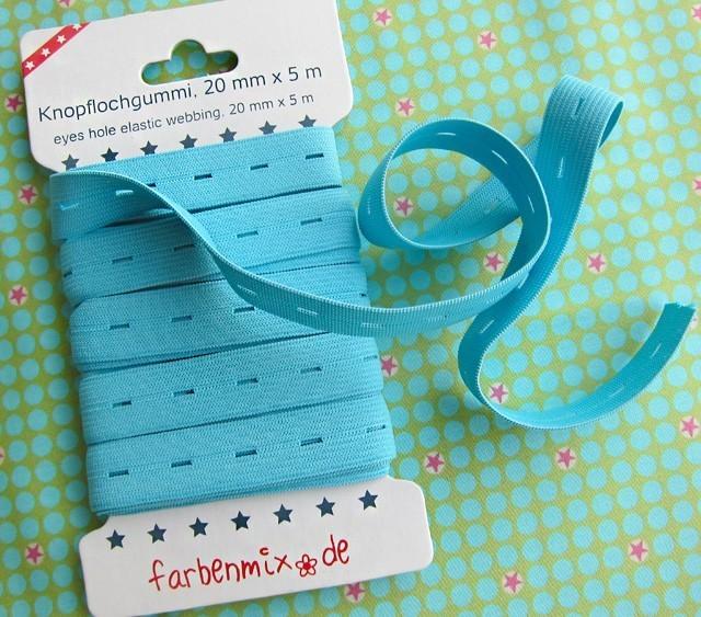 5m Knopflochgummiband Farbenmix hellblau 2cm breit - 1