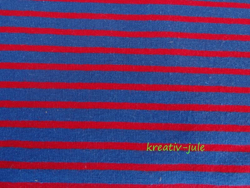Jersey Streifen dunkelblau rot Ringel - 1