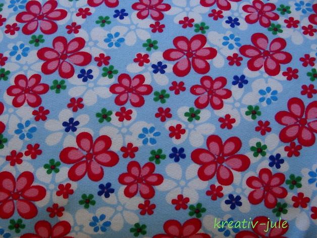 Sweat Blumen hellblau/pink sweat shirt - 1