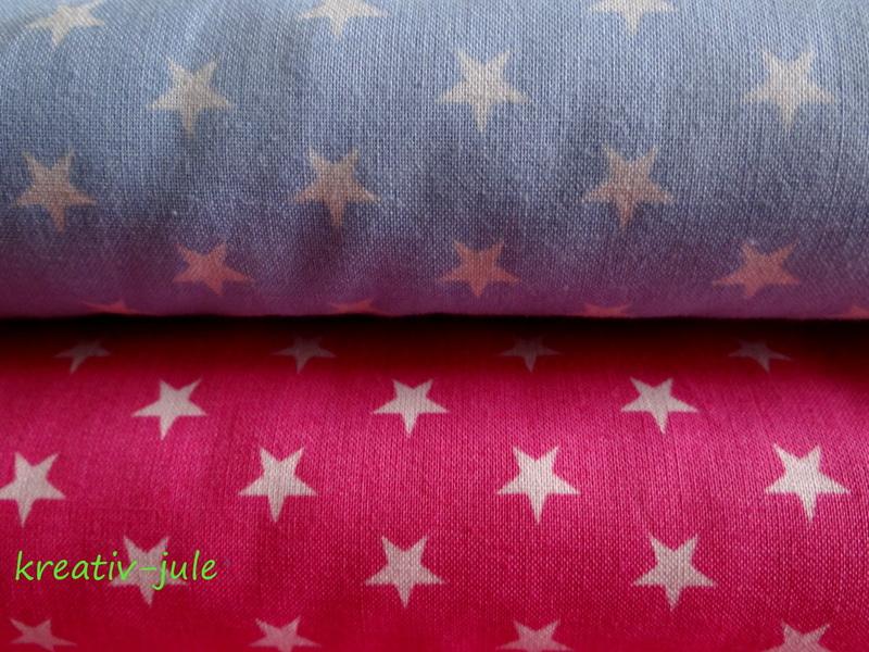Baumwolle Sterne pink weiss