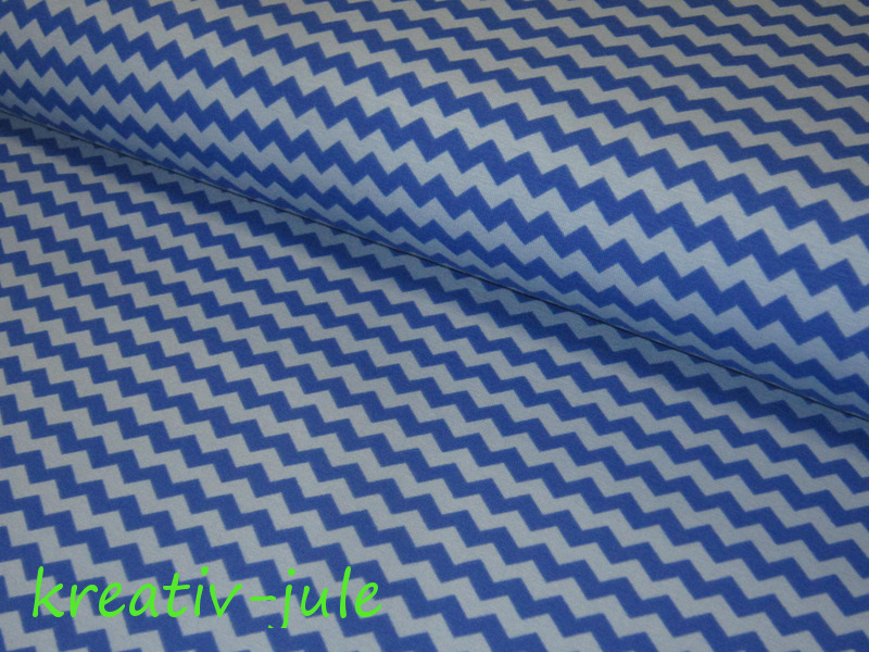 Jersey Chevron Baumwolljersey blau-hellblau - 1