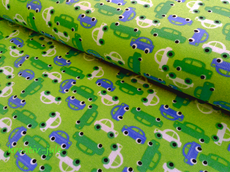 Baumwolljersey Auto Rennauto grün blau
