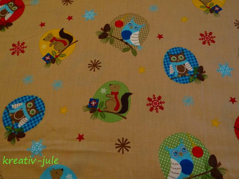 BW-Weihnachtsstoff-Eule Schneeflocke Sterne beige