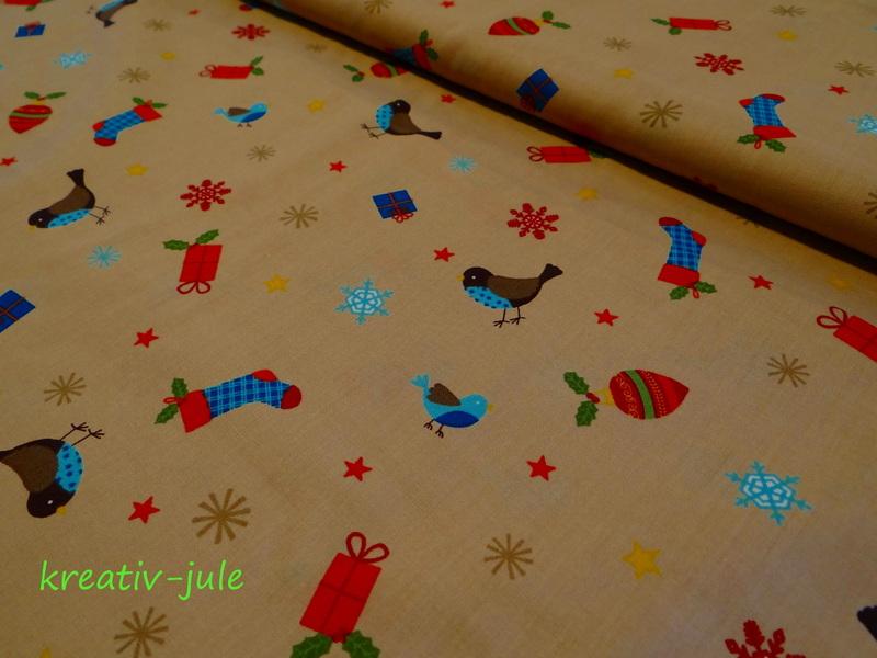 BW-Weihnachtsstoff-Vögel,Schneeflocke,Sterne,beige - 1
