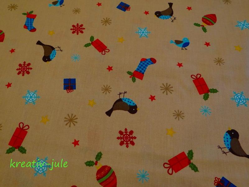 BW-Weihnachtsstoff-Vögel,Schneeflocke,Sterne,beige - 2