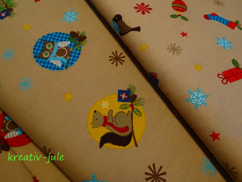 BW-Weihnachtsstoff-Vögel,Schneeflocke,Sterne,beige - 3