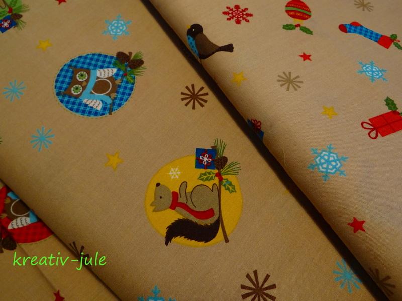 BW-Weihnachtsstoff-VögelSchneeflockeSternebeige - 3