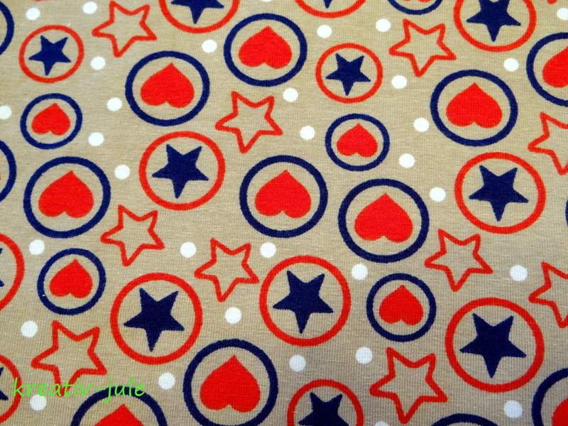Jersey Sterne Herzen rotblaubeige - 2