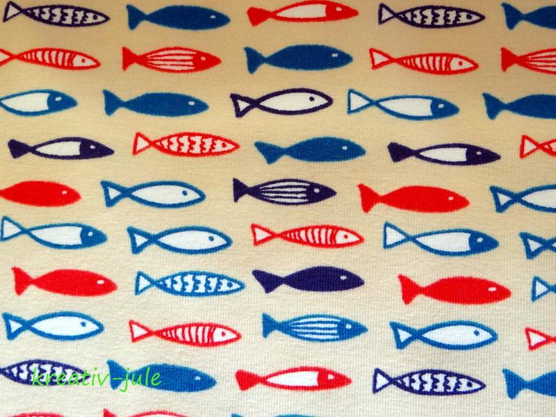 Jersey maritim Fische beige