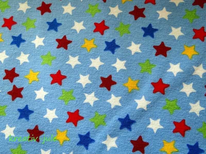 Jersey Sterne blau rot gelb gruen weiss