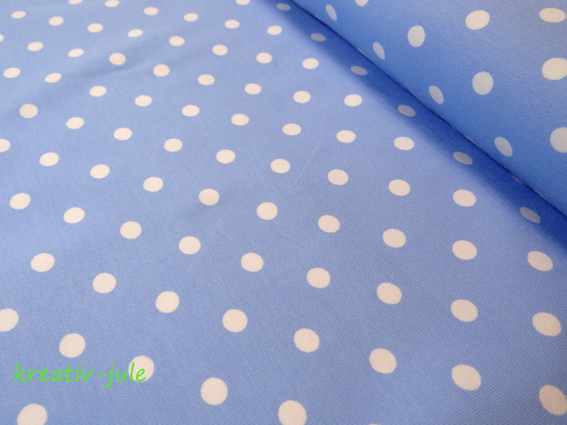 Jersey Punkte Dots Tupfen hellblau