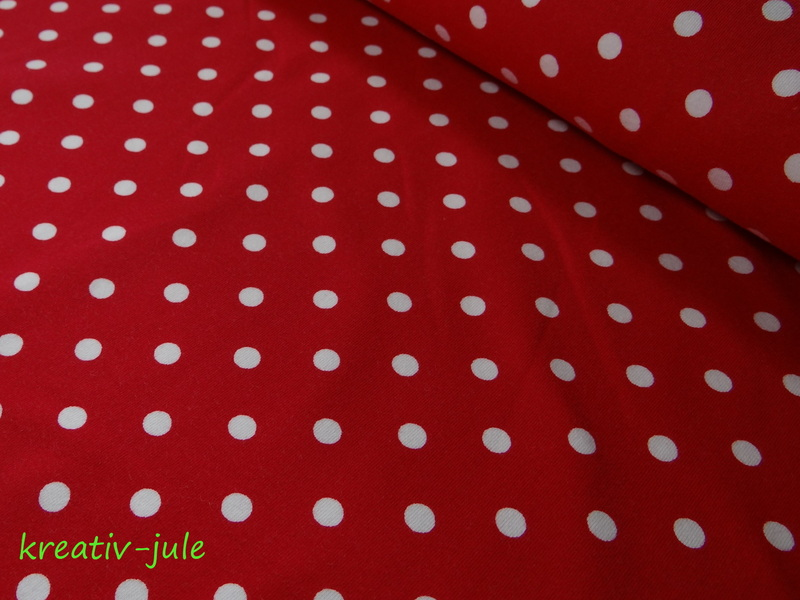 Jersey Punkte Dots Tupfen rot - 1