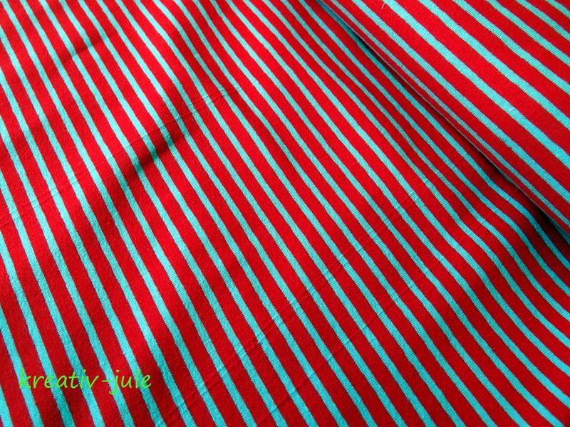 Streifenjersey rot/hellblau Ringeljersey - 1