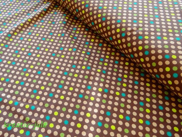 Jersey Punkte dots Tupfen braun,beige,grün,türkis - 1