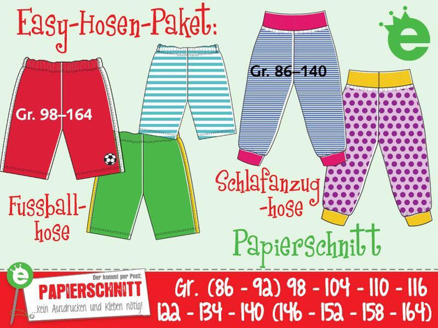 Papierschnittmuster Easy-Hose Gr. 86-164