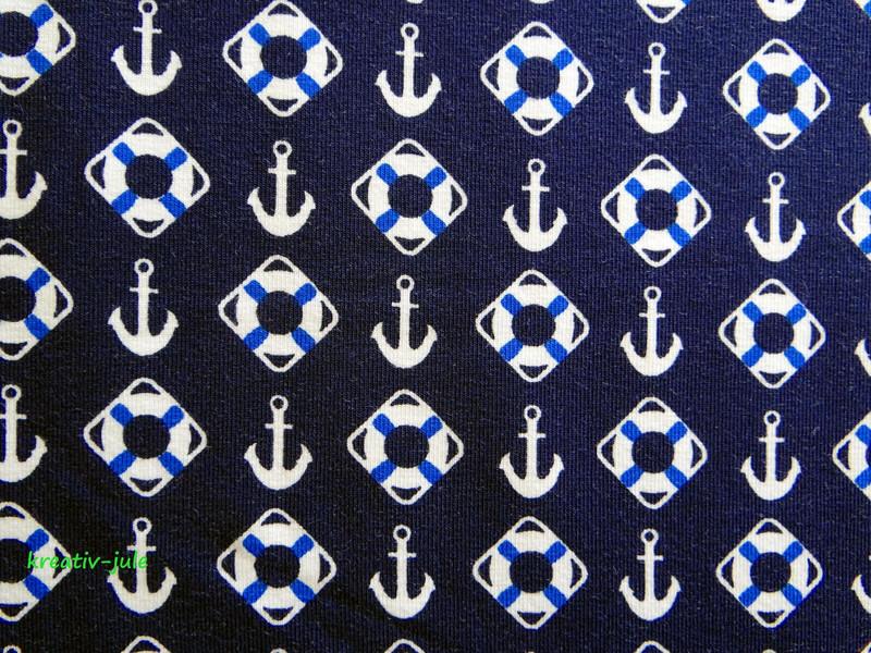 Jersey dunkelblau Anker Rettungsring Maritim weiß - 2