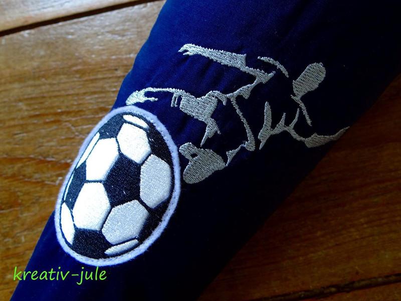 Schultuete Fussball Zuckertuete blau gruen Stoff