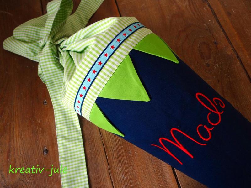Schultüte Fußball Zuckertüte blau grün Stoff