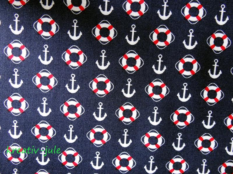 Baumwolle dunkelblau Anker Rettungsring Maritim