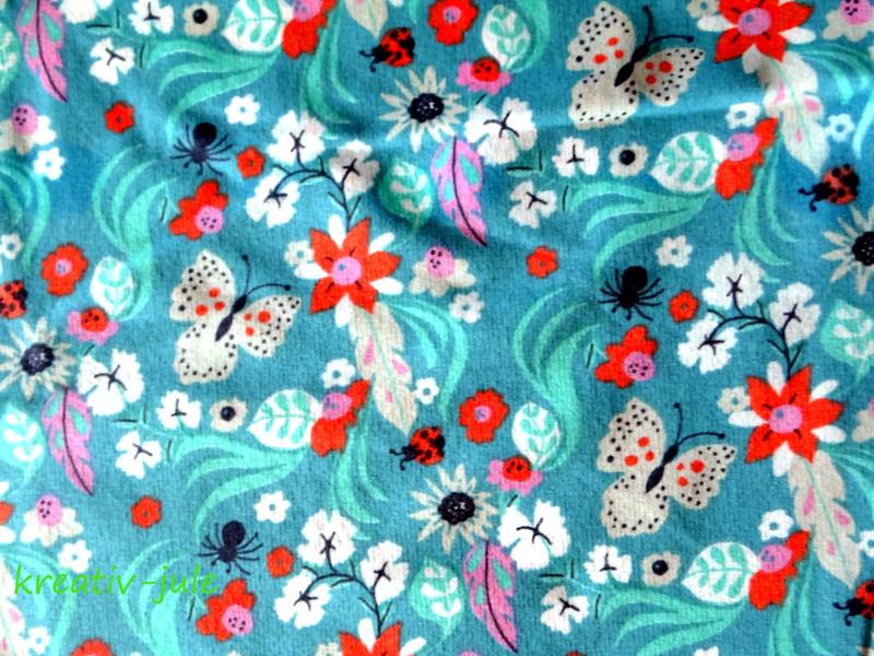 Sweat Freren türkis Blumen Federn - 2