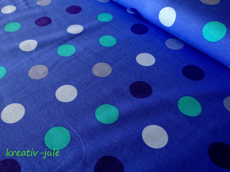 Jersey Punkte Dots Polkadots blau türkis grau - 1