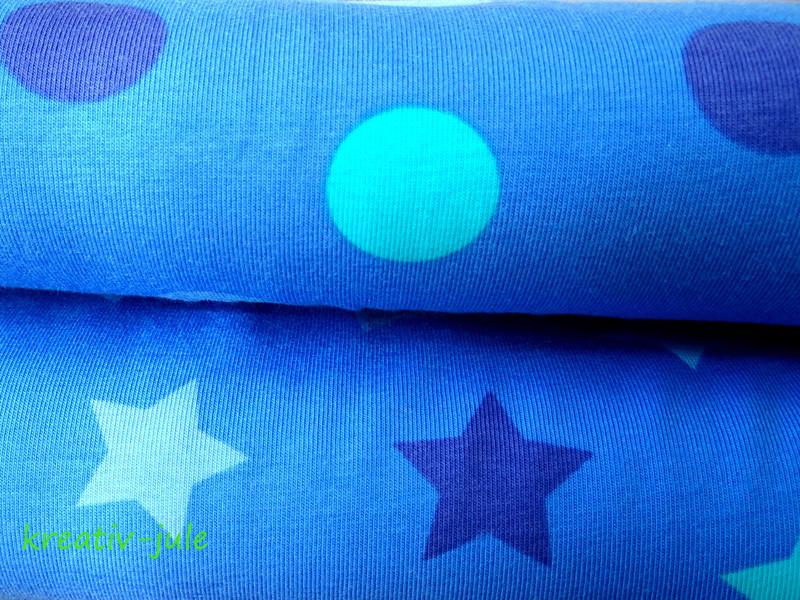 Jersey Punkte Dots Polkadots blau türkis grau - 2