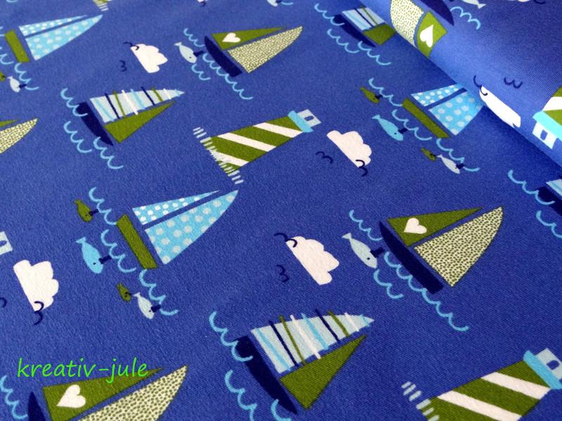 Jersey maritim Schiffe Boote blau gruen streifen