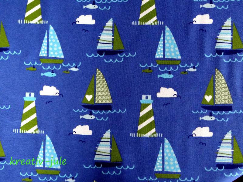 Jersey maritim Schiffe Boote blau grün
