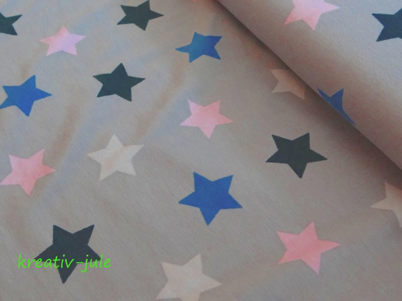 Jersey Sterne hellgrau rosa blau marine - 1