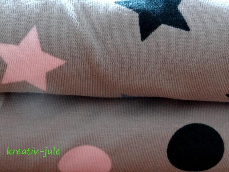 Jersey Sterne hellgrau rosa blau marine