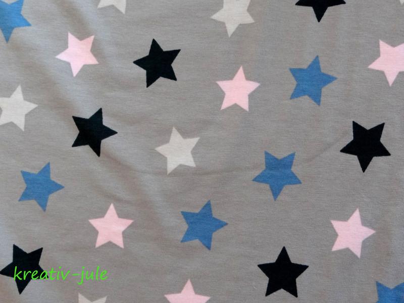 Jersey Sterne hellgrau rosa blau marine - 3