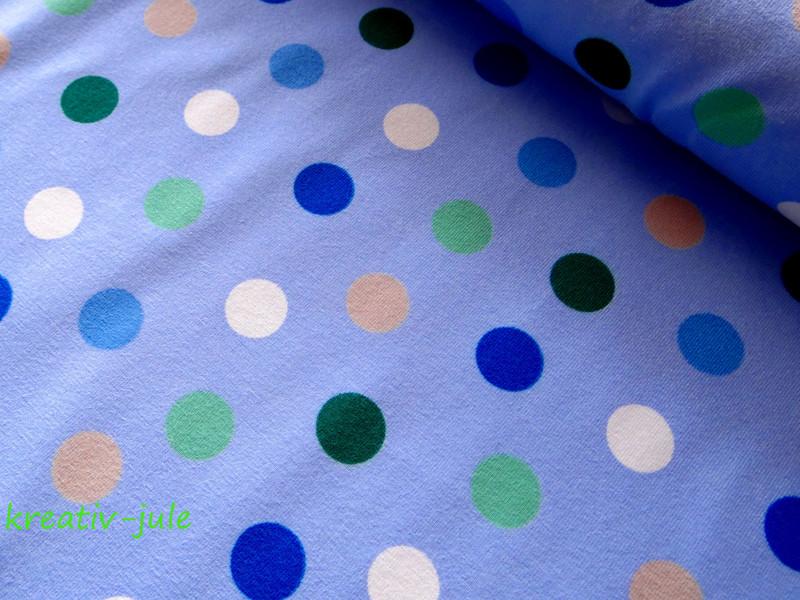 Jersey Punkte Dots Polkadots hellblau weiss gruen