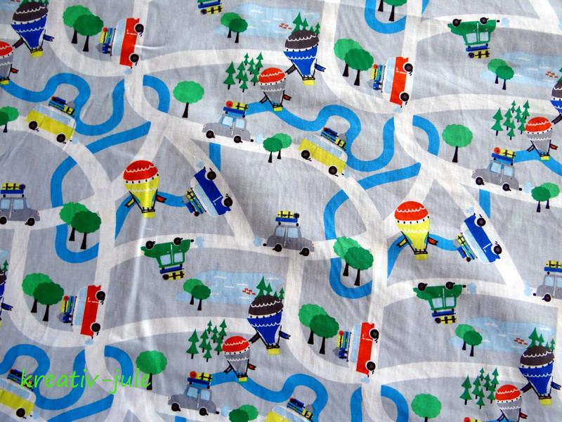 Baumwolle Straßenstoff Autos Bus grau blau