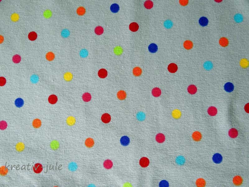 Jersey Punkte bunt auf grau grün gelb blau pink - 2