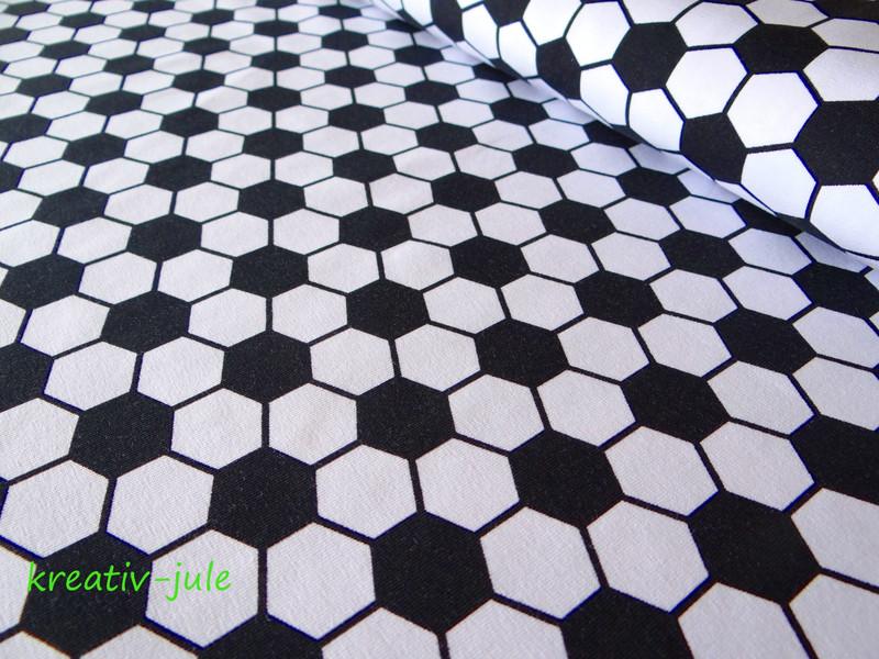 Jersey Fussball schwarz weiss Fussballstoff sechseck