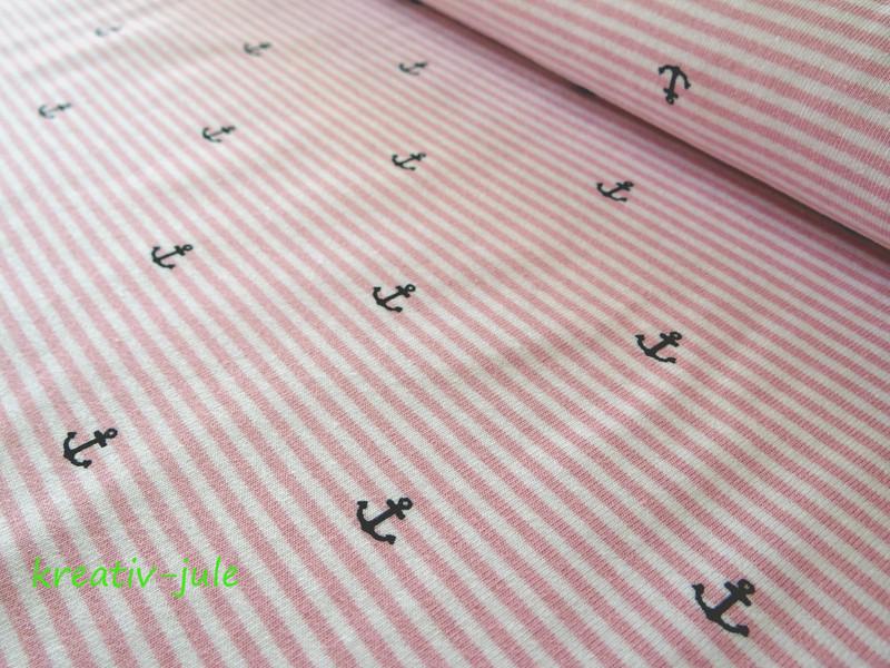 Streifenjersey rosa weiß Ringeljersey Anker Ahoi - 1