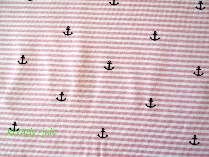 Streifenjersey rosa weiß Ringeljersey Anker Ahoi - 2